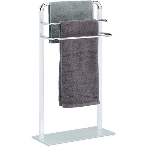 Relaxdays Towel Rack, Chromed Metal Towel Holder, HWD 80x45x20 cm, Clothes Valet, 3 Rails, White/Silver