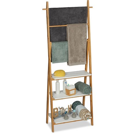 Relaxdays Towel Rack, Natural Bathroom Shelf with Towel Rails, HWD 150x50x30cm, Bamboo, MDF, Natural/White