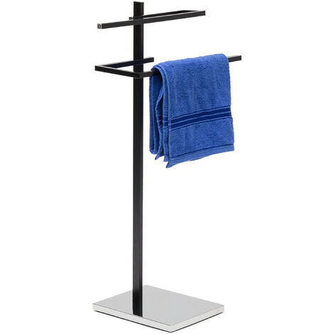 Relaxdays Towel Rack with 2 Arms: 82 x 44 x 28 cm Towel Holder Freestanding Towel Stand with Square Base Plate and 2 Angular Towel Rails made of Chromed Steel Matte Laquered, Black