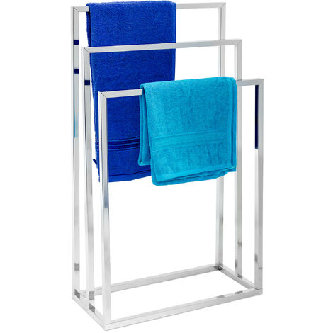 Relaxdays Towel Stand with 3Arms: 82.5x 46x 21cm Metal Chrome-Plated Stainless Steel Towel Rack with 3Rails Large Bath Towel Holder, Modern Style, Metallic Silver