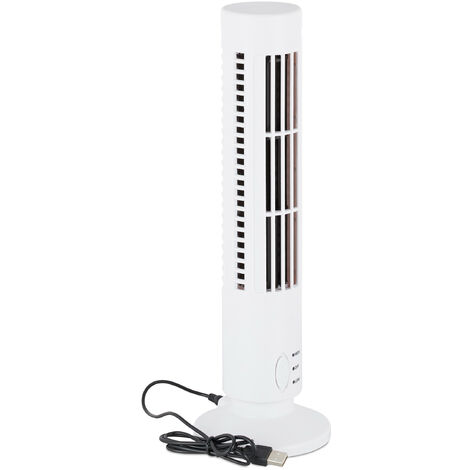 Relaxdays Tower Fan With USB, 2 Speeds, Table Ventilator For Office & Desk, Cool Air Blower, White
