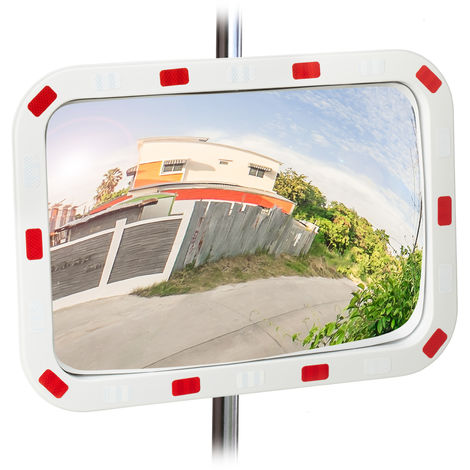 Relaxdays Traffic Mirror, 40x60 cm, Weatherproof, Shatterproof, Professional, with Holder, ABS Plastic, White-Red