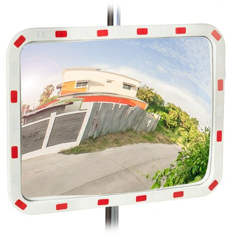 Relaxdays Traffic Mirror, 60x80 cm, Weatherproof, Shatterproof, Professional, with Holder, ABS Plastic, White-Red