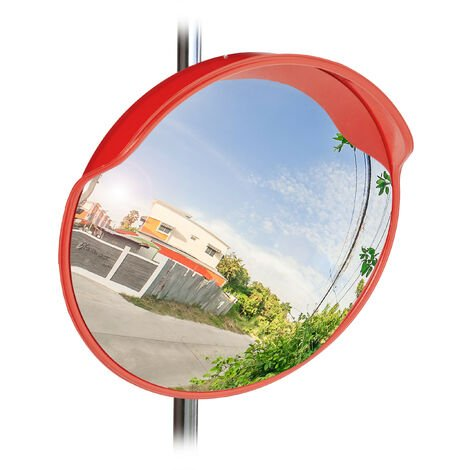 Relaxdays Traffic Safety Mirror, 60 cm, Weatherproof, Unbreakable with Mount, Wide Angle Mirror for In- & Outdoors, Red