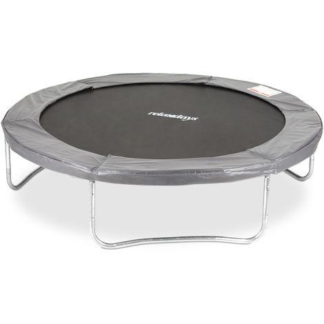 Relaxdays Trampoline pour Usage extérieur 305 cm Sport Fitness Entraînement Saut enfants 150 kg avec bords, gris