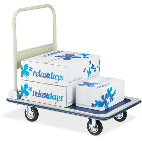 Relaxdays Transport Cart, Foldable Platform Truck, With Anti-slip Coating, Rubber Wheels, Up To 300 kg, Blue /Beige