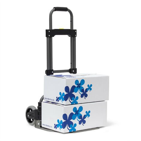 Relaxdays Transport Trolley For Max 70 kg (154 lbs), 97.5 x 39 x 42 cm, Sack Truck Iron & Synthetic W Telescope Handle, Hand Cart With Big Wheels, Luggage Trolley For Moving, Transport, Metallic