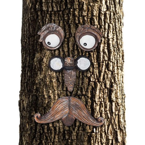 Relaxdays Tree Face Old Man 4-Piece, Tree Trunk, Weatherproof, Hanging Tree Decoration, Decorative Garden, Brown/White