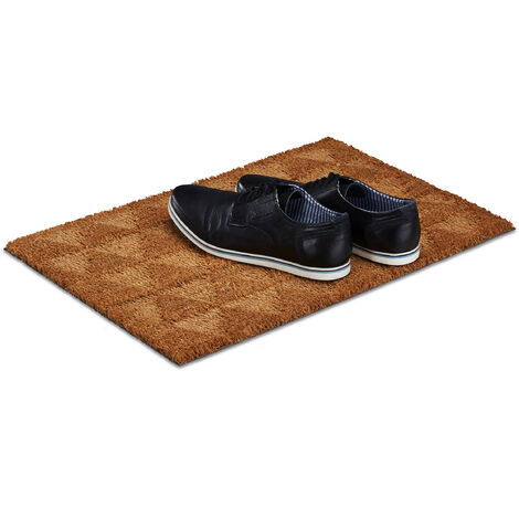Relaxdays Triangle Coir Doormat, HxWxD: 1.5 x 60 x 40 cm, Geometric, Non-Slip, Rectangular, Coconut Fibres, Rubber, Natural Brown