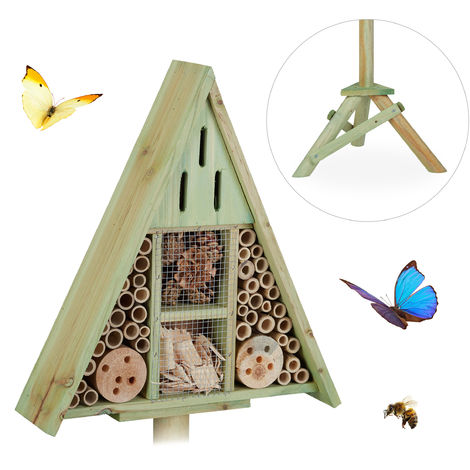 Relaxdays Triangular Insect Hotel on Stand, Garden Nesting Aid, Bee House, Wooden, HWD: 130x42x35cm, Green
