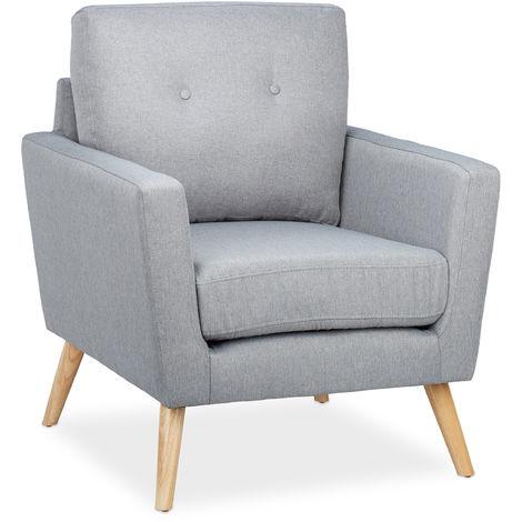 Relaxdays Tub Chair, Retro, Wooden Legs, Fabric Upholstery, 50s & 60s Style, Living Room, H x W x D 88 x 74 x 77 cm Grey
