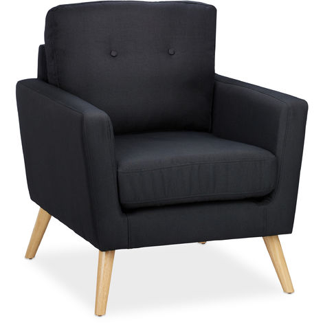 Relaxdays Tub Chair, Retro, Wooden Legs, Fabric Upholstery, 50s & 60s Style, Living Room, HxWxD: 88 x 74 x 77 cm, Black