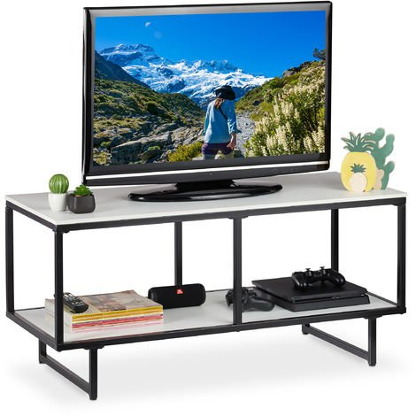 Relaxdays TV Lowboard, 2 Tiers, Living Room Table, Open, Metal Frame, HWD 50.5 x 110.5 x 45.5 cm, White/Black