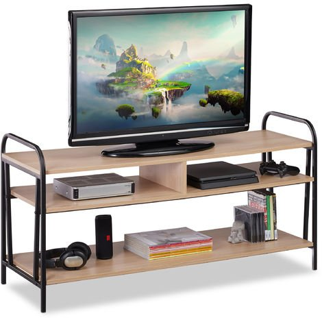 Relaxdays TV Stand, Industrial Shelving Unit for TV & VCR, Open Coffee Table, HWD 60x120x40 cm, Brown/Black