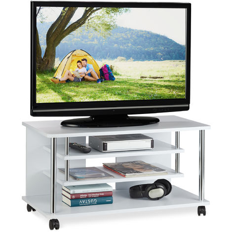 Relaxdays TV Stand on Casters, Two Tiers for Devices, Compact Rack for HiFi Supplies, HxWxD: 42x80x40 cm, White