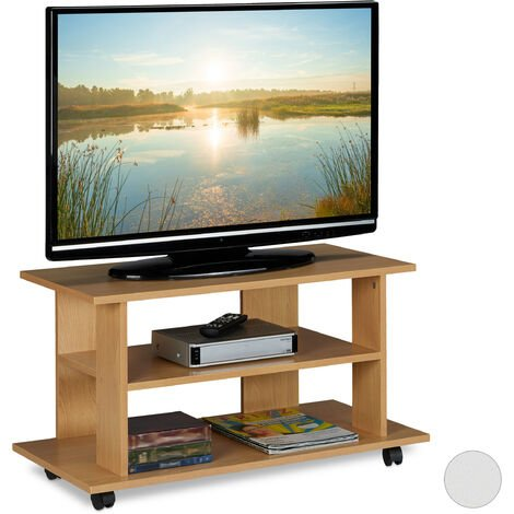 Relaxdays TV Stand on Castors, 2 Compartments, Console & Receiver Stand, Mobile Table HWD 45x80x40 cm, Natural