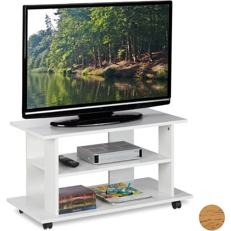 Relaxdays TV Stand on Castors, 2 Compartments, Console & Receiver Stand, Mobile Table HWD 45x80x40 cm, White