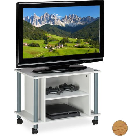 Relaxdays TV Stand on Castors, 2 Compartments, TV Rack, Mobile Coffee Table, HxWxD: 45x60x40 cm, White-Silver