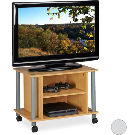 Relaxdays TV Stand on Castors, 2 Compartments, TV Rack, Mobile Coffee Table, HxWxD: 45x60x40 cm, Wood Look
