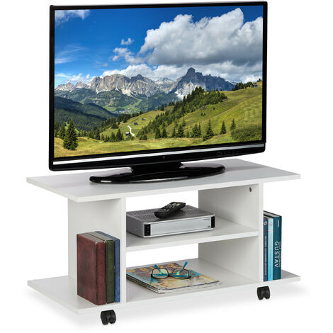 Relaxdays TV Stand with Casters, 4 Open Compartments, Mobile Coffee Table for Devices, DVDs, HWD 40 x 80 x 40 cm, White