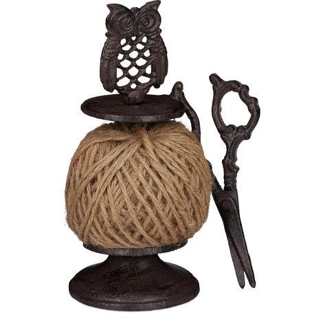Relaxdays Twine Roll Holder Owl, Cast Iron, String Dispenser With Scissors & Twine, Garden, Kitchen, Dark-brown