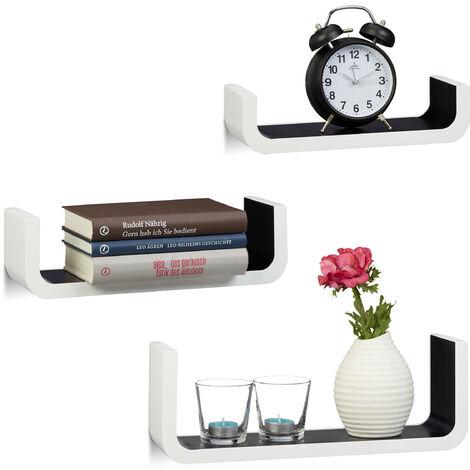 Relaxdays U-Shaped Wall Shelves Set of 3, Small Wooden Floating Shelves, 10 cm Depth, 40 cm Width, White-Black