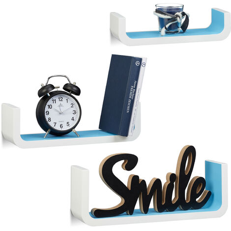 Relaxdays U-Shaped Wall Shelves Set of 3, Small Wooden Floating Shelves, 10 cm Depth, 40 cm Width, White-Blue