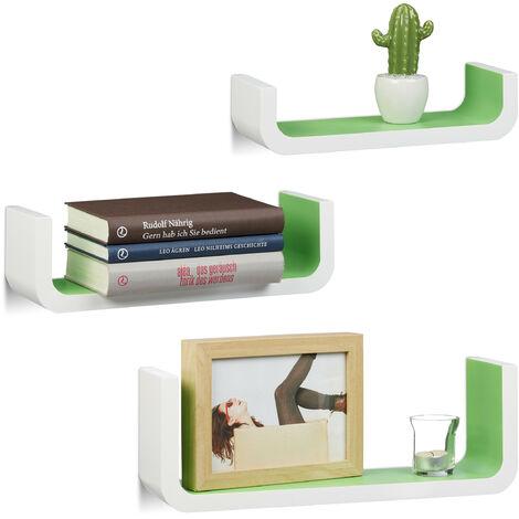 Relaxdays U-Shaped Wall Shelves Set of 3, Small Wooden Floating Shelves, 10 cm Depth, 40 cm Width, White-Green