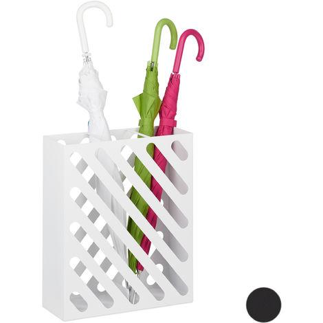 Relaxdays Umbrella Stand XL, Rectangular Holder For Walking Stick & Umbrellas, Steel, Portable, 48x40x15 cm, White