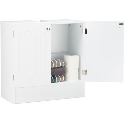 Relaxdays Under-Sink Bathroom Cabinet Wood, Washbasin Vanity Storage Cupboard in Slat-Design, Bath, H x W x D: 60 x 60 x 30.5 cm, White