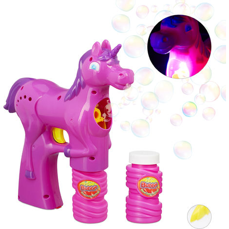 Relaxdays Unicorn Soap Bubble Gun, LED, Battery-Operated with 2x Soap Bubble Liquid, Adults & Children, Pink
