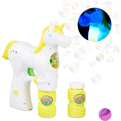 Relaxdays Unicorn Soap Bubble Gun, LED, Battery-Operated with 2x Soap Bubble Liquid, Adults & Children, White