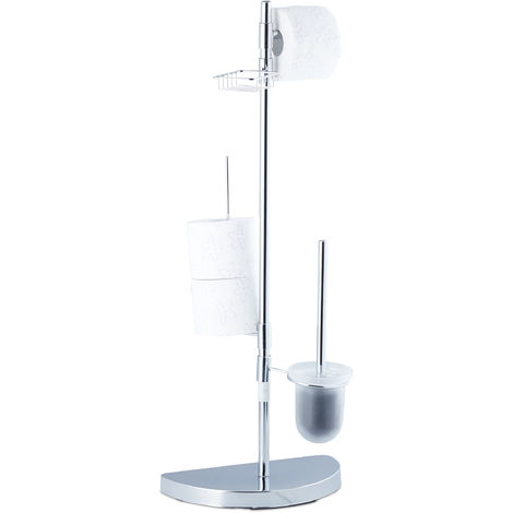 Relaxdays Universal Toilet Accessory Set, Toilet Roll Holder, Brush with Container, 360° Swivel Parts, 86 cm Tall, Chrome