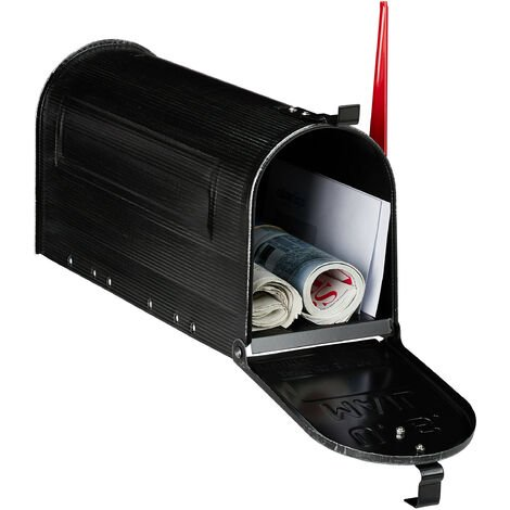Relaxdays US Mailbox, Vintage, American Letterbox Post, Large, HxWxD: 25x19x52.5 cm, Red Flag, Steel, Black