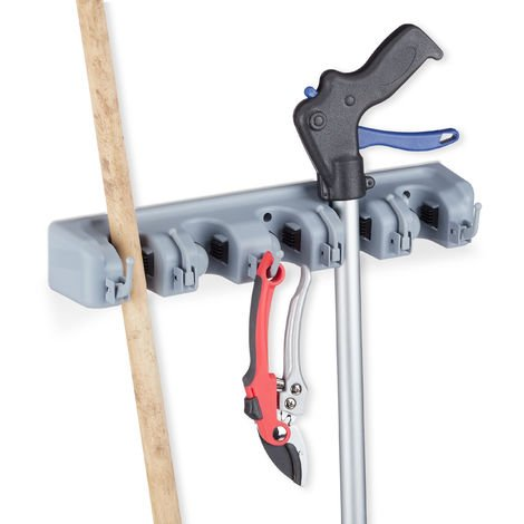 Relaxdays Utility Holder, Wall-mounted, 5 Clamp Holders, 6 Folding Hooks, Universal Tool Holder, 40 cm, PP, Grey
