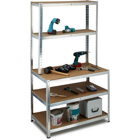 Relaxdays Utility Shelves with Work Bench, 900 kg, 5 Shelves, Free-Standing, Size: 180 x 100 x 60 cm, Metal, MDF, Boltless Shelving Unit, Grey