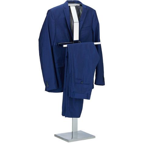 Relaxdays Valet de Nuit Portant à Vêtements Serviteur de Chambre Design Métal Sur Pied HLP 111x45x21cm, Argenté