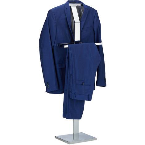 Relaxdays Valet Stand for Men, Coat Rack Stand Metal, Freestanding Butler, Hanger, H x B x W approx. 111 x 45 x 21 cm
