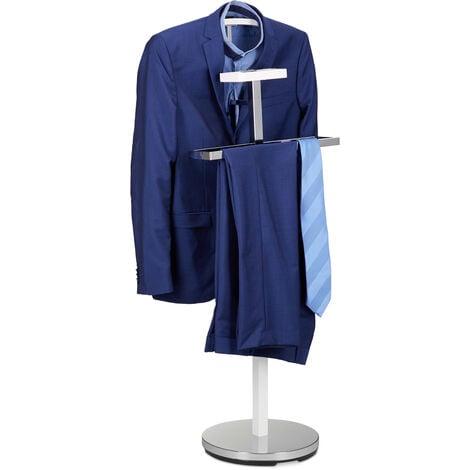 Relaxdays Valet Stand for Men, Coat Rack Stand Metal, Freestanding Butler, Hanger, H x W x D approx. 112 x 47 x 30 cm