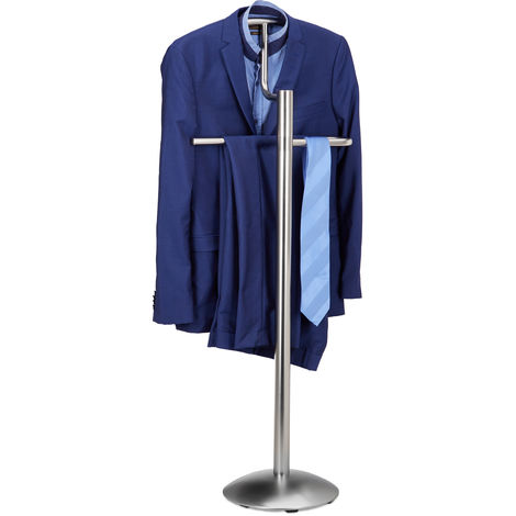 Relaxdays Valet Stand for Men, Coat Rack Stand Metal, Freestanding Butler, Hanger, H x W x D approx. 114 x 44 x 28 cm