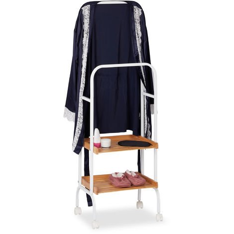 Relaxdays Valet Stand On Wheels, Clothes Rail With 2 Shelves, Metal & Bamboo Towel Stand, 129 x 42 x 32 cm, White