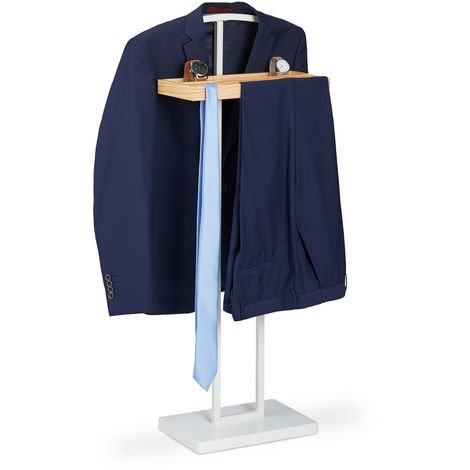 Relaxdays Valet Stand, With Wooden Shelving, Freestanding, Crease-free Suits, MDF & Metal, HWD 102 x 46 x 24 cm, White
