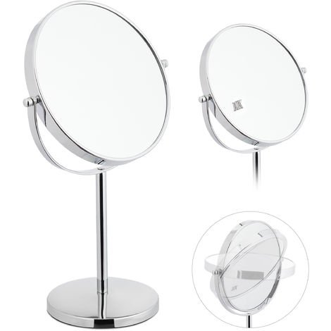 Relaxdays Vanity Mirror, Double-Sided with 10 x Magnification, Standing, Round Cheval, HWD: 38x23x13.5 cm, Silver