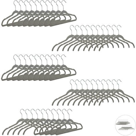 Relaxdays Velvet Clothes Hangers, Compact Storage, Non-Slip Velour Cover, 360° Swivel Hook, Suit, Pants, Set of 50, Grey