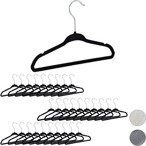 Relaxdays Velvet Coat Hangers Pack of 30, Non-Slip Clothes Hangers, Boys & Girls, Swivel Hook, Pants Rail, Black