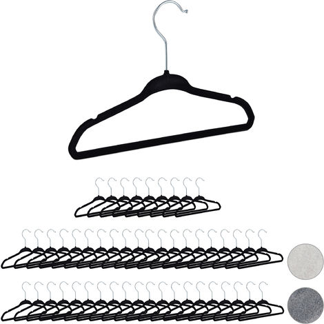 Relaxdays Velvet Coat Hangers Pack of 50, Non-Slip Clothes Hangers, Boys & Girls, Swivel Hook, Pants Rail, Black