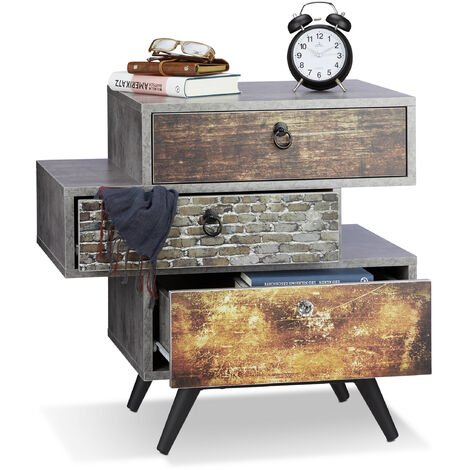 Relaxdays Vintage Dresser with 3 Drawers, Concrete-Look Chest of Drawers, Shabby Chic with Handles, HWD: 60 x 60 x 40 cm, Grey