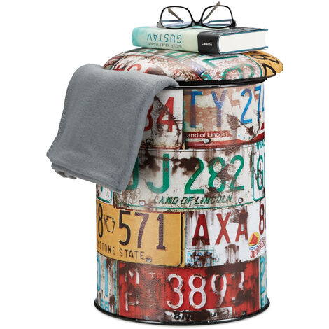 Relaxdays Vintage Storage Ottoman Barrel, Colourful Padded Drum, Storage Cask with Lid H x D: 44 x 32 cm, Multicolor