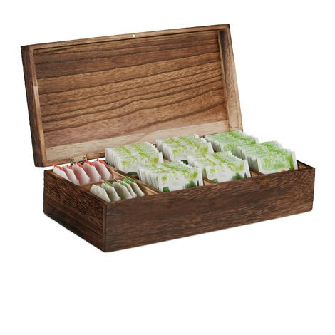Relaxdays Vintage Tea Box, 8 Compartments for 80 Tea Bags, Wooden Chest, Flavour-Preserving, 8.5x30.5x15.5 cm, Brown
