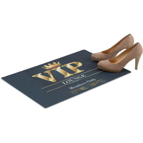 Relaxdays VIP Lounge Doormat, 60 x 40 cm, Stylish Non-Slip Dirt Catcher, Flat, Black
